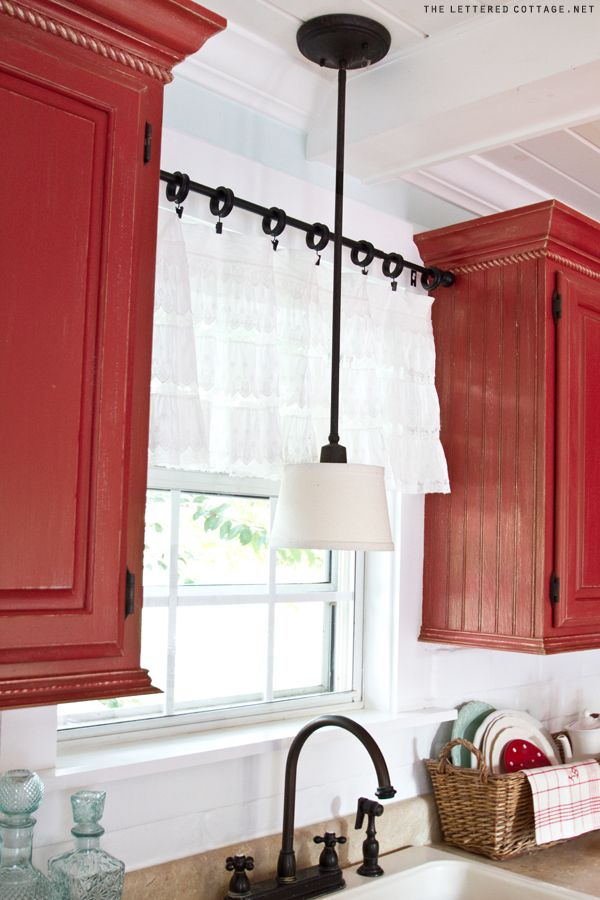 White Kitchen Window Treatment,