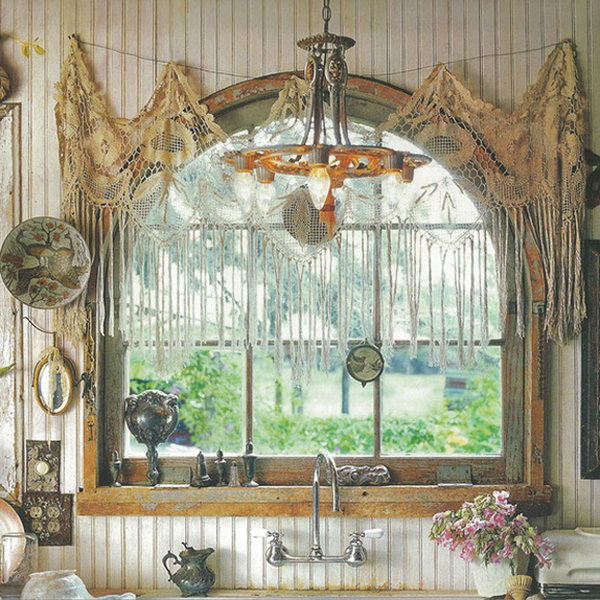 Bohemian Style Kitchen Window Treatment,