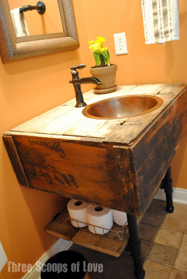 These toilet paper rolls were stored under the vanity, which was made from a salvaged wall cabinet.