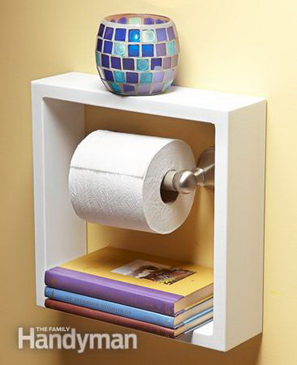 Take A Deep Shadow Box Picture Frame And Hung It Around Your Toilet Paper  Holder.