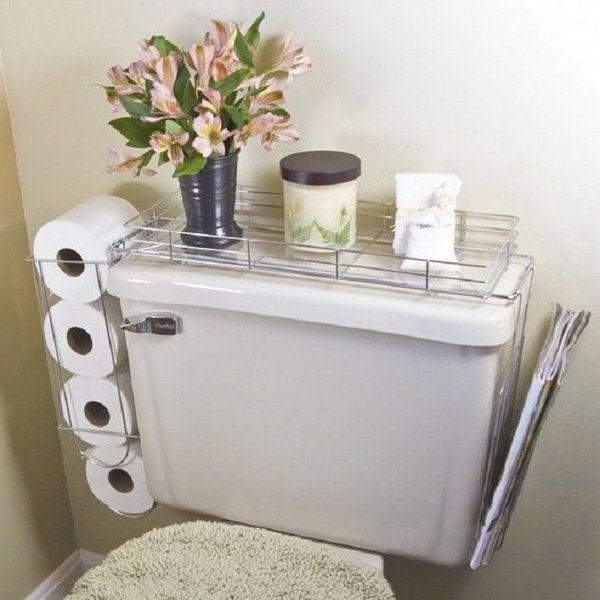 Hang these metal holders around the toilet to store toilet paper rolls, newspapers and other small items.