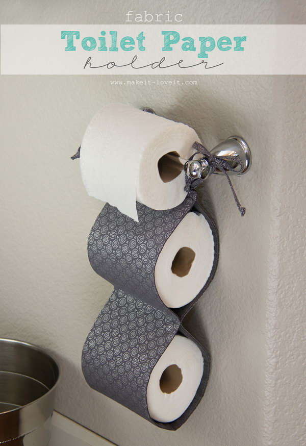This DIY fabric toilet paper holder would be great for the households with people who refuse to replace the empty roll with a new one. Just make sure the holder is always filled and you're always prepared.