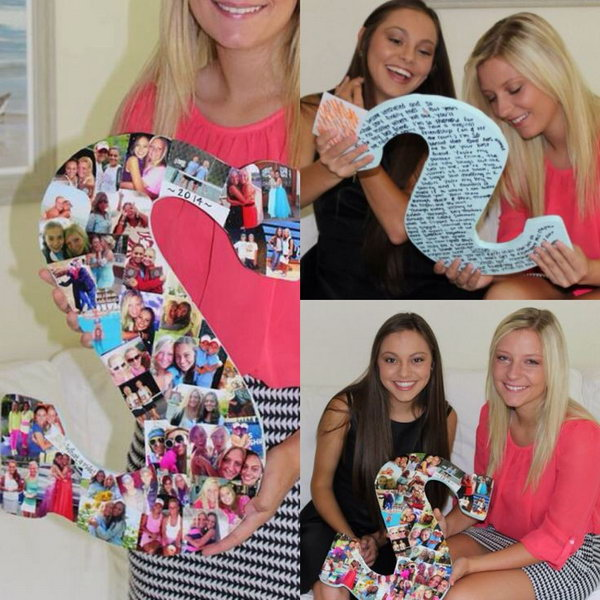 Wooden Letter Covered In Photos This Item Can Be Used As A Nice Graduation Present