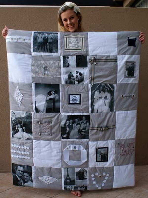 it is a wonderful idea to make a photo memory quilt to