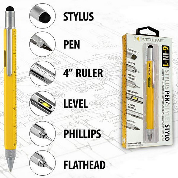 Use this Multi Function Ruler Pen instead of carrying around separate tools. This useful pen can be also an PDA stylus, a ballpoint, a ruler, a screwdriver and other tools. It is the one that keep your writing needs right on your hand.