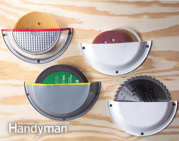 Pie Plate Storage Pockets. Use pie tins cut in half to safely store those circular items you need, such as sanding discs, circular saw blades and abrasive discs.