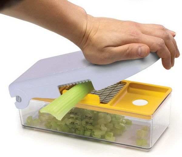 Fruit and Vegetable Chopper. This handed food chopper allows you easily mince, dice, slice and cut in just seconds. Simply place the item on top of the stainless steel blade grate and with one swift motion, swing the top lid down. The food is cut into included measuring container.