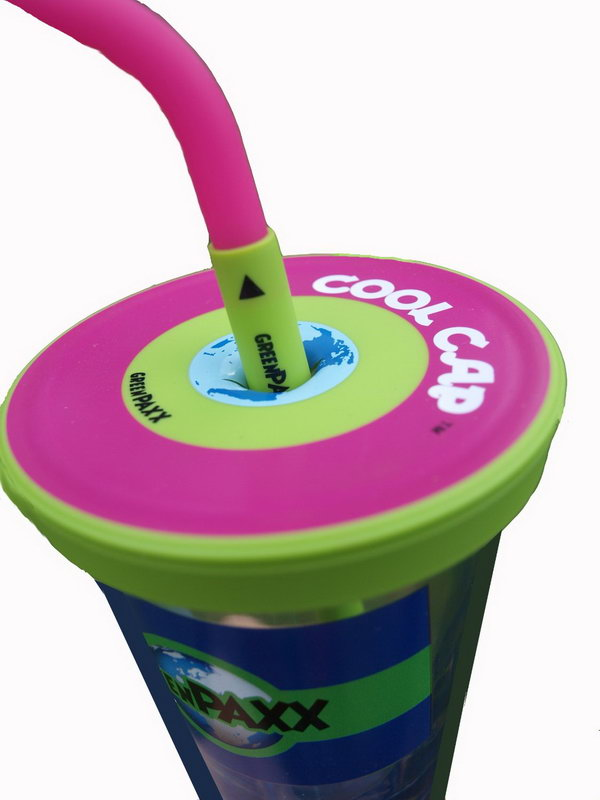 Universal Spill Proof Cup Lid. This cool cap fits many glasses and cups to keep your smoothies, juices and drinks from spilling.
