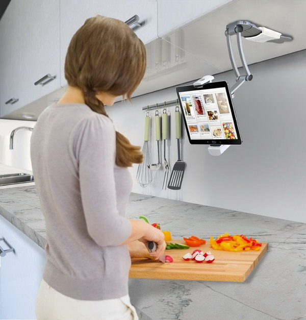 Kitchen Mount Stand for iPad. This tablet stand mounts to the underside of a kitchen cabinet, and is perfect when you need recipes.