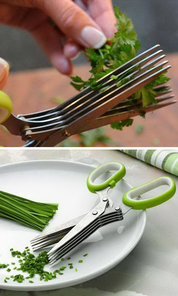 5 Blade Herb Scissors. The five blades do such a good job chopping things like parsley, rosemary and thyme. It allows your herbs to be cut with ease in seconds.
