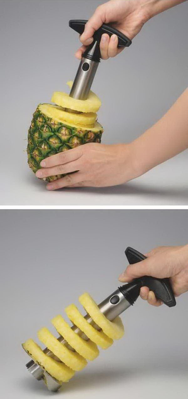 Easy Pineapple Slicer. A creative kitchen gadget which helps you peel, core, and slice a pineapple in just a matter of seconds. Push slicer in over core, twist down to bottom and pull out.