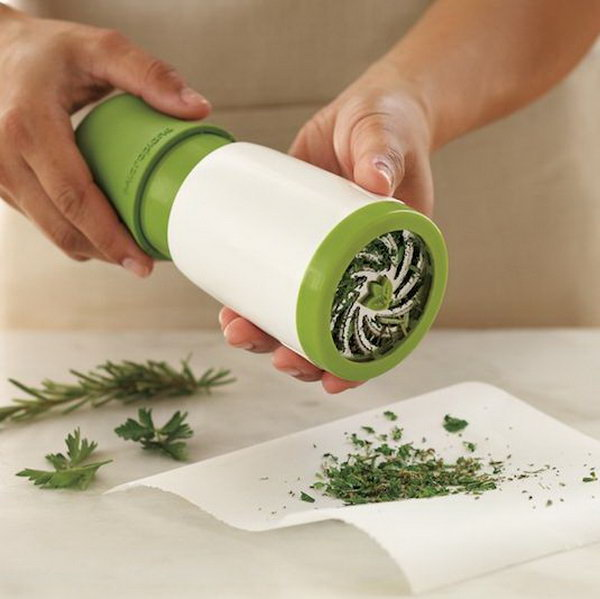 Fresh Herb Mill Kitchen Gadget. Grind and dispense fresh herbs with a simple twist. This tool makes it a  piece of cake to include fresh herbs into all of your home cooking.