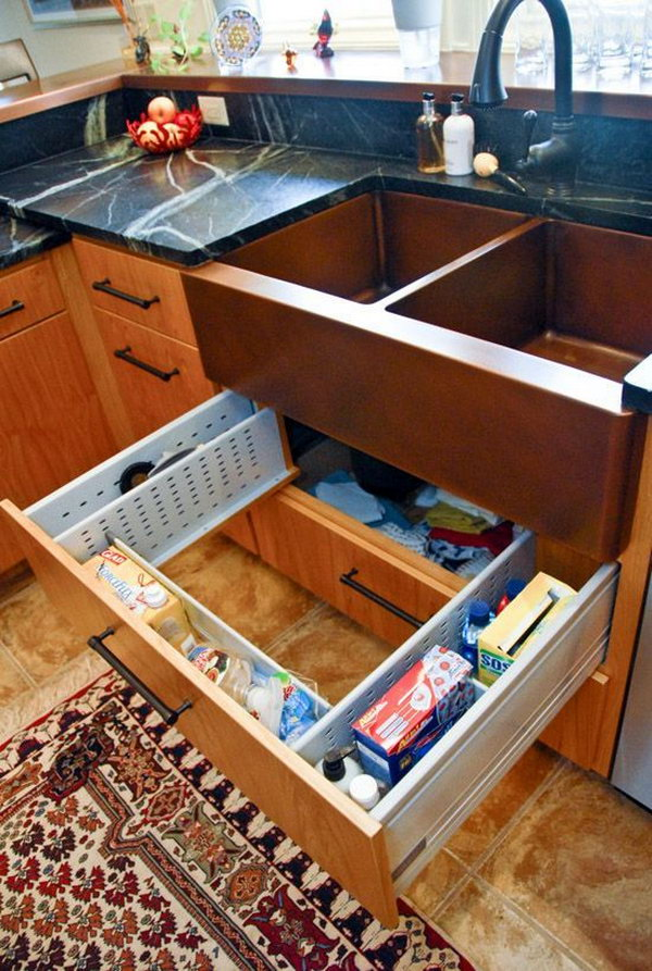 Sink Drawer Surround Plumbing  The sink drawer is adjustable to fit around the plumbing and. Creative Under Sink Storage Ideas   IdeaStand