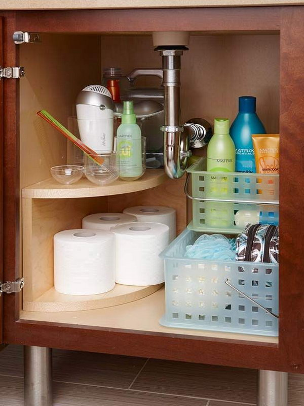 Install A Curved Multitier Storage Unit Along The Undersink Plumbing. Free  Up Space For Everyday