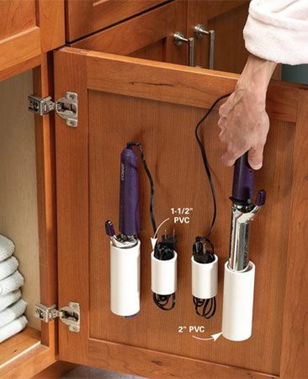 pvc pipe storage for curling irons and cords use the space over the vanity cabinet - Bathroom Organizers Under Sink