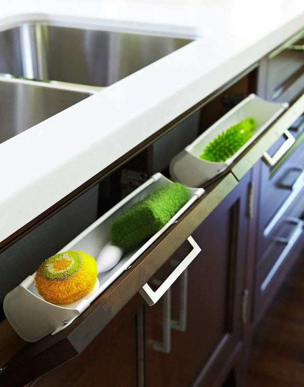 Under Kitchen Sink Storage. Use hidden pull out panel below kitchen sink to store sponges & Creative Under Sink Storage Ideas 2017