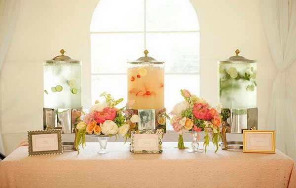 Water Drink Station. Give guests a quick cool down for the summer party reception with this water station.  Add stylish water dispensers with fanciful favors such as lemon, cucumber, lime, mint and strawberry for flesh flavor.