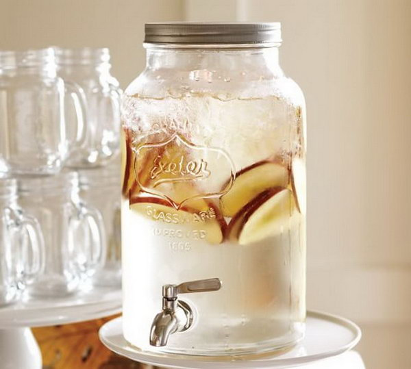 Mason Jar Drink Station. Mason-jar-inspired collection continues the tradition of casual entertaining. It's fantastic to let guests help themselves to lemonade or ice tea with this mammoth mason jar drink dispenser.