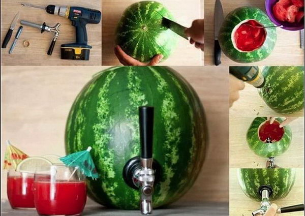 Watermelon Drink Station. Drill a hole from the watermelon to introduce the tap. Fill in the hollowed out watermelon with drinks as you like. This watermelon beverage dispenser is sure the impress your guests with its stunning design.
