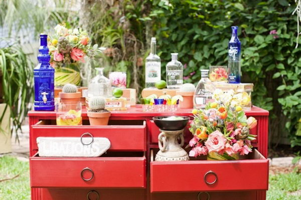Vintage Drawer Drink Station. Create custom tequila tasting station with this vintage chest of drawers. You can also add up some tiny plants or flower vases for beautiful decor.