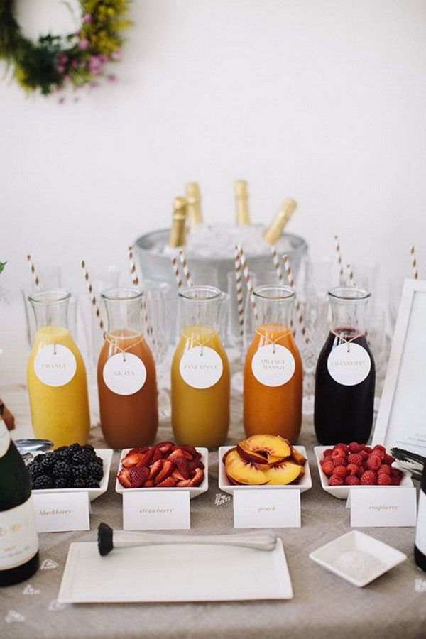 Creative Carafes Drink Station. Create a sparkling drink bar with dishes of various fruits and carafes of fruit juice or Italian sodas in a festive and casual touch.