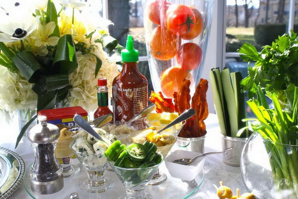 Bloody Mary Bar. Serve up tomato juice, top shelf vodka, clam juice with a variety of fruit with pickled vegetables as you like to mix up your favorite beverage flavor.