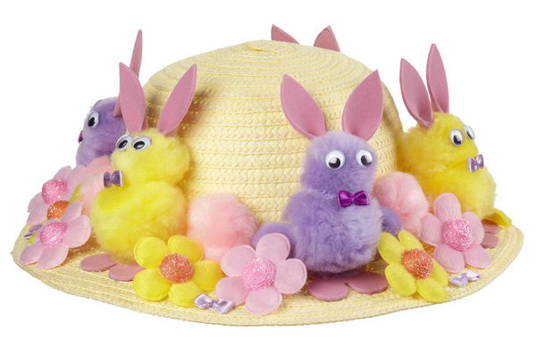 Bunny Parade Bonnet. Create the bunny body by sticking pom poms of two different sizes, glue the eyes ,the bow and the ears from the pink sheets of foam. Decorate all the bunnies, flower embellishments on the plain hat.