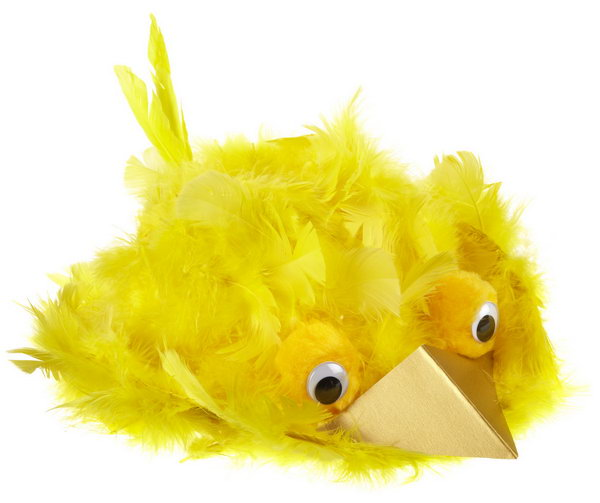 Big Bird Bonnet. It's so great to see this cute soar with its feather wings. Apply tacky glue around the hat and cover it with feathers, poke a few of them to create the tail. Use a gold triangle to make its beak.