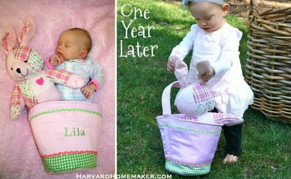Easter Fun   One Year Later. Take the picture of your kid with the Easter bunny doll in the bag. The infant may sleep In this bag, it's so wonderful to see the kid holding the bad with the Easter bunny bag inside. It seems like they witness the growth of your kid.