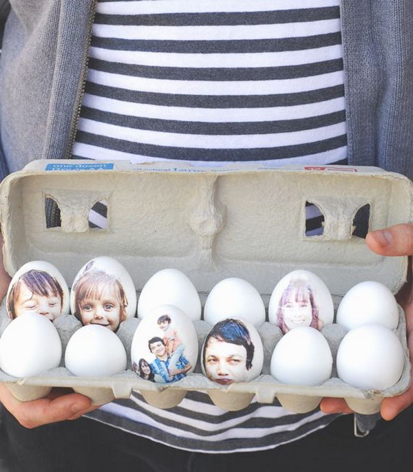 Print Photo Easter Eggs. I really appreciate the wonderful creation idea of this Easter egg, it's simple to do but hard to imagine. Print the photos of your family and cut them close to the photo shape and glue them on the eggs. It's so sweet to see the Easter eggs with the photos of your family.