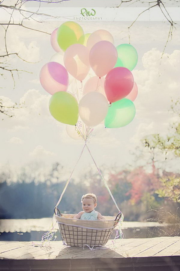 Absolutely love this photo idea for babies. The baby sits in the basket and tie some colorful balloons. You can also add some Easter eggs in this basket to set the festival mood.