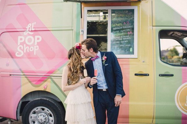 Food Truck Engagement Party. Mose couples want to keep up with the latest trend of engagement party. Here is a fashionable way. Decorate the truck according to the theme of your engagement party. The food truck is a cool way to offer party catering to your preference easily.