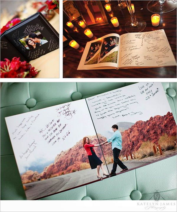 Engagement Guest book. Boring with the traditional guest book? Try this impressive creative idea by displaying your engagement photos. Leave some space inside to enable guests to write down sweet advice and sincere blessing for the couple.