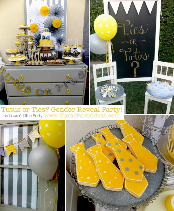 Ties or Tutus Gender Reveal Party. Celebrate the party with green salad served mason jars, tutu and tie banner, chicken salad served in ice cream cones, 3-tiered yellow and gray fondant cake to assign the gender with either a tutu or a tie.