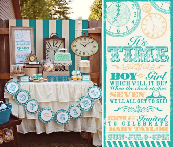 Clock Themed Gender Reveal Party. This unique clock themed party has a cuckoo clock to chime and your kids can rush to see the cuckoo bird's message from the slip of paper it delivers to tell you if it is a boy or a girl.