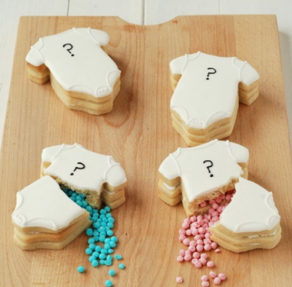 Gender Reveal Cookies. So many people are making efforts on cakes to make the announcement. Why not try something new by baking some stunning cookies with loads of tiny candies inside to make the announcement.