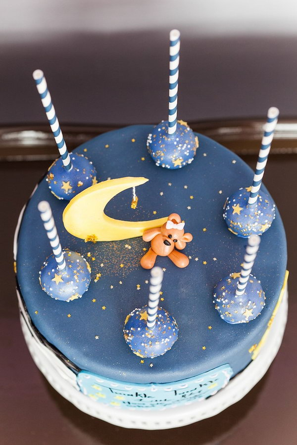 Twinkle Twinkle Little Star Gender Reveal Party. Inspired by the children's poem 'twinkle twinkle little star'. Treat all your guests with such a starry night cake. It has chocolate covered strawberries with shooting stars to cake pops with stars and outer space specks. There is red velvet with blue cream cheese frosting inside for the big reveal.