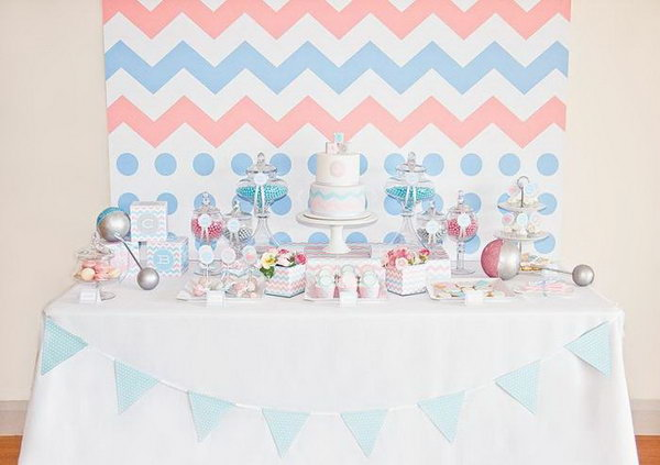 Sweet Gender Reveal Party. I really adore this sweet gender reveal party for its sweet design and tender flavor from the baby rattle cake pops, fondant cupcake toppers, mini cheese cakes, vanilla bean footprint, bottle and onesie cookies.