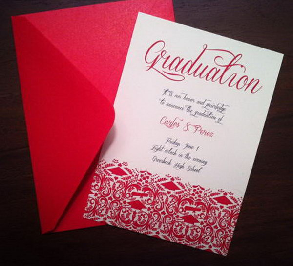 Red Envelope Graduation Announcement. This fancy graduation announcement features a red envelope style. Surprise your friends and relatives with this characterized graduation announcement in your school color.