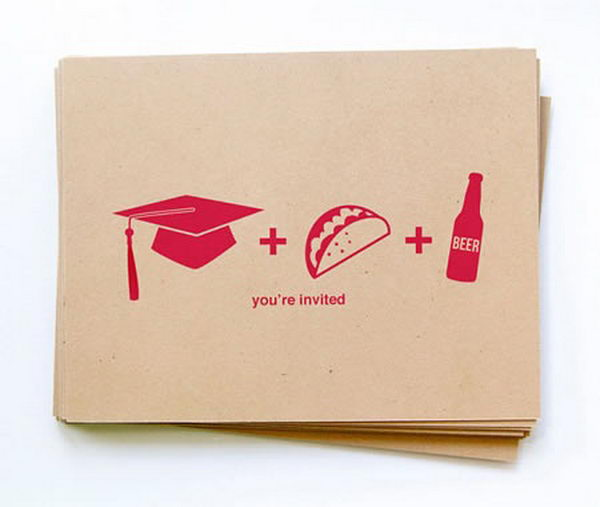 Funny Graduation Announcement. A graduation announcement doesn't have to be too exquisite, create this simple yet interesting graduation announcement to mark your graduation status and invite them to celebrate for your achievement.