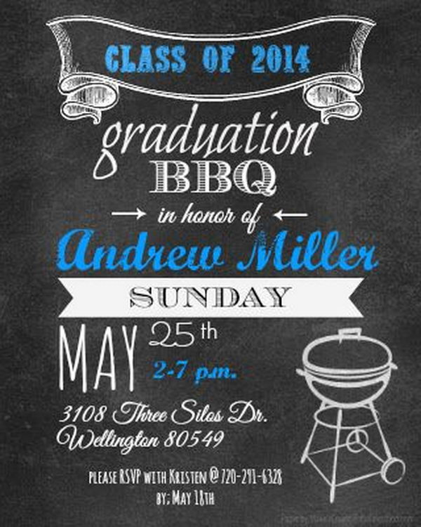 Graduation BBQ Announcement. It's super chic to invite your friends and relatives for a barbecue to celebrate your exciting graduation. Use fantastic calligraphy and barbecue silhouette barbecue image to finish off its funny style.