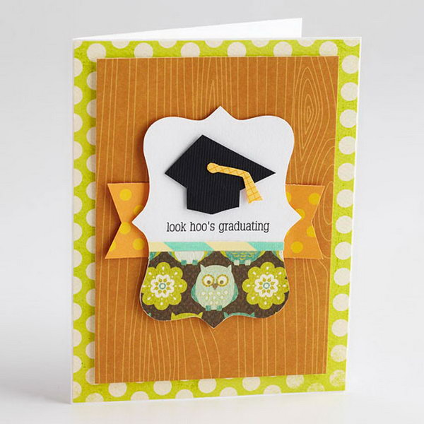 Funny Owl Graduation Announcement. This graduation announcement features a graduation cap at the top and paper owl at the base of a die cut to complement the play on words in the sentiment. All the guests must be impressed by this charming graduation announcement with well refined design.