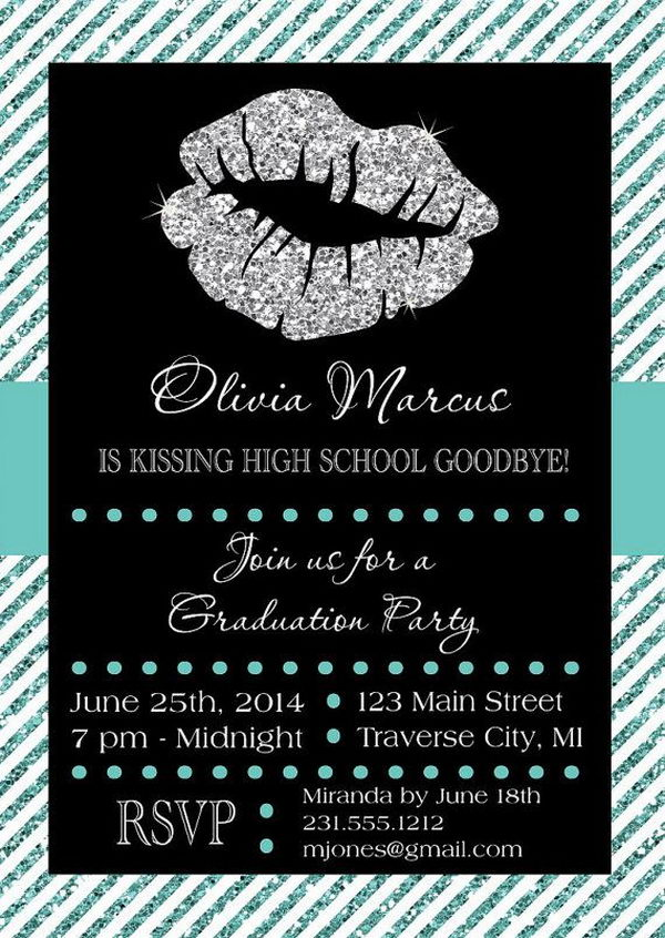 Kissing Goodbye Graduation Announcement. This stunning graduation announcement features a sparkling lip at the top to create a stunning visual effect for the invitation of your friends and relatives to celebrate your great event.