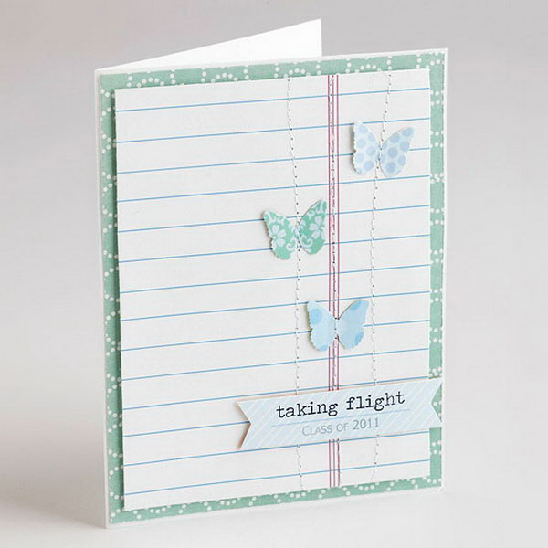 Taking Flight Graduation Announcement. Impress all your guests with this graduation announcement in an elegant style. Replace diploma and graduation cap with colorful butterfly to create the pretty pattern.
