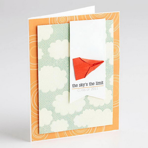 Paper Plane Graduation Announcement. This graduation announcement features a miniature paper airplane on a multi layer cardboard will definitely refresh the eyes of all your guests and leave a deep impression on your graduation celebration.