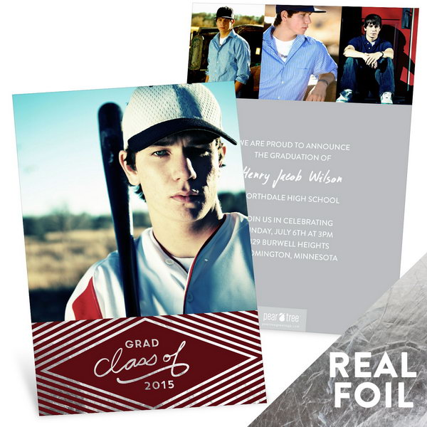 Silver Foil Diamond Graduation Announcement. Add up a dramatic look befitting your big news with this silver foil stamped diamond graduation announcement. Shape your personality with one large photo on the front and other three on the back.