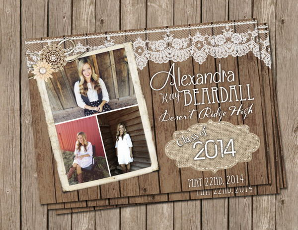 Vintage Graduation Announcement. Surprise your friends and relatives with this vintage gradation announcement. It features lace pattern at the top to add up an elegant outlook. The burlap pattern with the graduation year finishes off its vintage style.