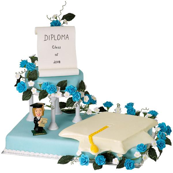 Congratulate the Graduate Cake. This well-refined two-tiered cake features a diploma and mortarboard for the great celebration of the graduate with a personalized character.
