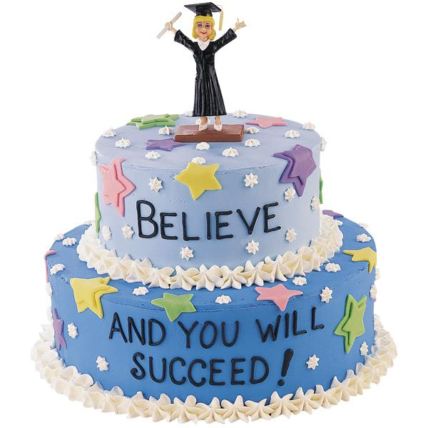 Graduation Mindset Cake. Serve this graduation mindset cake to urge the graduate to reach for the stars as they step into the society world. This stunn ing cake features graduate topper as well as colorful stars for decorations.