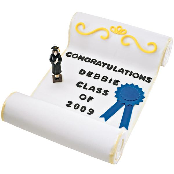 Senior Scroll Cake. Hats off to your graduate's success with this personalized three-tiered cake! Decorate with black-tinted fondant to create the message for alphabet and numbers.